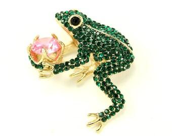 Frog Brooch, Frog Broach, Emerald Green, Frog Prince Brooch, Emerald Green Brooch, King Frog, DIY Project Craft Jewelry Embellishment