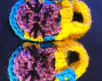 Crocheted Baby Sandals - cat