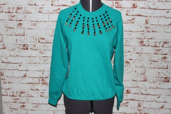 Turquoise Jumper, Black beadwork with Gems, Size - Small (8-10)