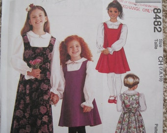 UNCUT Childrens and Girls Jumper in Two Lengths and Blouse - Size 7, 8, 10 - McCalls Pattern 8482
