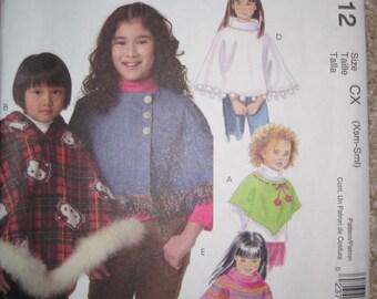 UNCUT Girls Ponchos - McCall's Sewing Pattern M4912