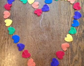 Heart garland, rainbow garland, felt heart garland