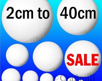 Pack of 5 SOLID POLYSTYRENE BALLS (pick from 2cm to 25cm) for Craft Christmas Decoration Sweet Trees