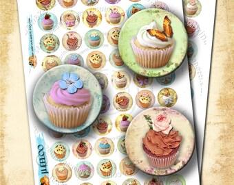 "LITTLE CAKE Digital Download 1"" size printable images for glass or resin pendants magnets bottle caps bezel trays scrapbooking - tn136"