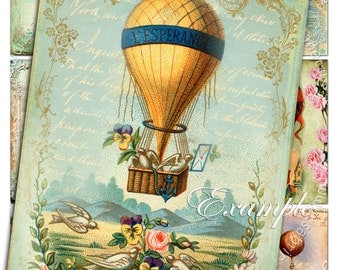 FLYING in the SKY atc aceo size  printable - Digital collage sheet mongolphier air balloon instant download backround - ac143