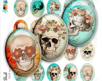 Digital printable THE SKULL 30x40mm oval for goth scary dia de los muertos pendant and craft instant download Digital collage sheet - ov122