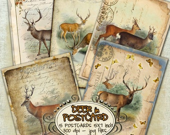 DEER postcards digital graphics  - Digital collage sheet instant download hang tags printable - romantic paper goods jewelry holder - pp208