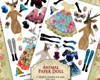 ANIMAL PAPER DOLL digital altered art - Digital collage sheet  for journal page scrapbooking diary art - instant download printable - pp177