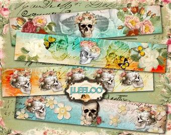 THE SKULLS banner - dias de los muertos bones images bracelet printable Digital collage sheet - instant download - background papers - pp245