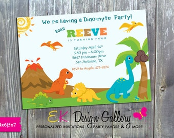 Dinasaurs Birthday Party Invitation, Dinosaur Invitation, Dinosaur Invite, Birthday Printable Invitations, DIY