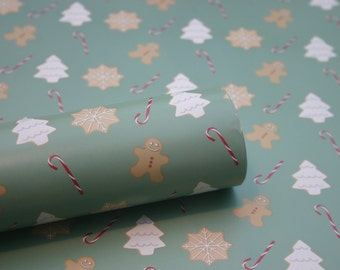 Christmas Wrapping Paper, 3 x Christmas Treats Wrapping Paper Sheets, Christmas Gift Wrap
