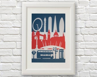 London Landmarks Paper Cut, Paper Cut Art, London Art