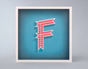 Alphabet Letter F Initial Card – Illustrated Birthday Card – Quality Printed Birthday, Gift or Greeting Card – 3D – Turquoise, Peach & White