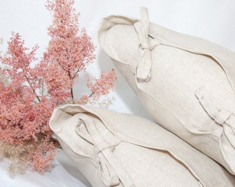 Set of linen pillow covers tied with a bow (2 pce) / natural color
