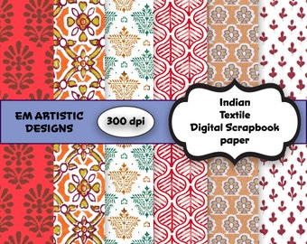 INSTANT DOWNLOAD Grunge Indian Textile Pattern} 300 dpi} Digital Download} 12x12} Digital Scrapbook Paper} Six designs