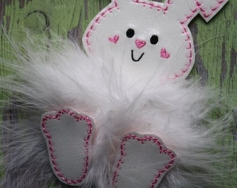 FELTIE SALE!   Floppy Ear Bunny Marabou Puff Feltie Embroidery machine Design for the 4x4 hoop