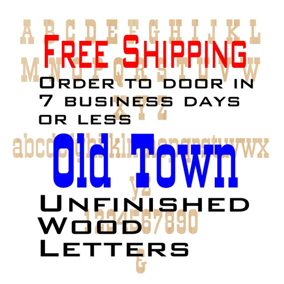 Unfinished Wood Letters Numbers, Free Shipping, Old Town, Wood Craft, laser cut wood, &, birch, wooden, wall, DIY, Wedding