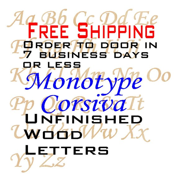 Unfinished Wood Letters, Free Shipping, Monotype Corsiva, Wood Craft Letters, laser cut wood wood, birch, wooden, wall, DIY