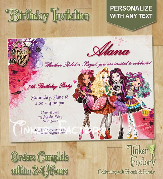 Ever After High Birthday Invitations
