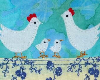 Chicken fancier: Handmade applique greetings card