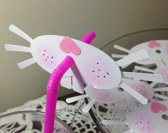 Just 12 Bunny party straw toppers
