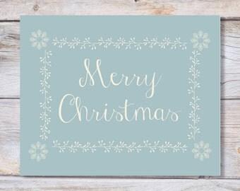 Printable art Christmas art print MERRY CHRISTMAS Holiday art print Holiday decor, Christmas decor, Christmas print, blue, Holiday print