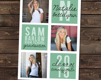High School Graduation Announcement in mint with 3 Photos