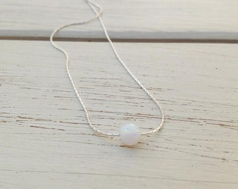 Opal Necklace Silver Ball Necklace White Opal Minimalist Silver Dainty Necklace,opal jewelry, valentines days gift,Gift for her