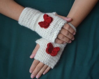 Alpaca Crochet Creamy White Fingerless Gloves with Red Butterfly, 100% Pure Alpaca Yarn, Mittens, Women Accessories
