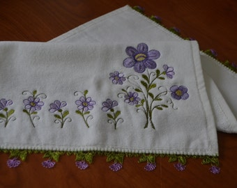 Cotton White Kitchen Towel with Handmade Needle Lace at Both Ends, Small Towel, Hand Towel, Needlework, Brides Gift, Bridal Gift