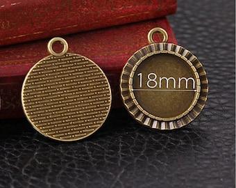 10 Pcs Charms Pendant Trays - 18mm Inside Round Cabochon Base Antique Bronze - Blank Bezel Cabochon Setting Trays