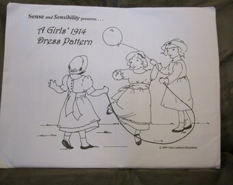 """Sense and Sensibility's """"A Girl's 1914 Dress Pattern"""" sz 1-10"""