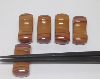 Set of Five Natural Hickoryite Jasper Gemstone Hashioki Chop Stick Rest