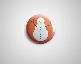 """PCS-PIN-016 - Snowman Xmas Pinback button - 1.75""""-Perfcase"""