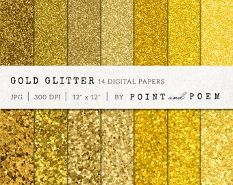 Gold Digital Paper, Glitter Gold, digital papers, texture for invitations  - Commercial Use