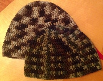 Crochet Camo Beanie/ any size