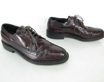 Mens Vintage Benchmark Red/Brown Burgundy Leather Lace Up Wingtip Dress Brogue Oxford Business Shoes Sz 8 1/2 D