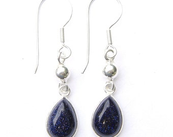 Stunning Hand Made Blue Goldstone Teardrop Dangling Sterling Silver Earrings