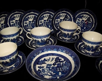 Johnson Brothers willow pattern tea set