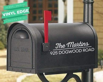 Set of 2 Custom Mailbox Personalized Vinyl Decals - Custom Address Decal - Last name Decal - Vinyl Lettering [MBX0001]