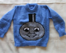 """Hand knitted """"Thomas The Tank Engine"""" train  face child's sweater"""