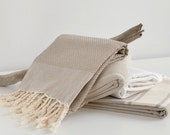 large waffed Fouta towel beigeTunisian spa linen