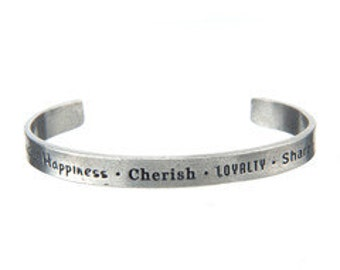 Happiness Quote, Cuff Bracelet, Designed Jewelry