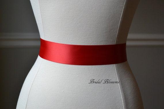 Red satin ribbon bridal sash belt wedding dress sash ribbon sash