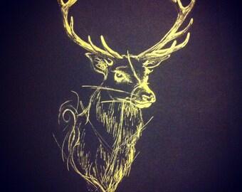 Stag head Reindeer print from original illustration black and gold ink