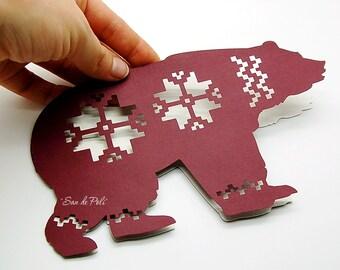 Sale 50% Christmas bear paper cut card Хмаs Noel (Studio V.3, svg, dxf, eps, png) file vinyl Overlay decal Silhouette Cameo EasyCutPrintPD