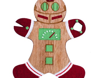 Retro Robot Gingerbread Man Christmas Ornament