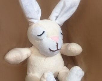 Custom Rabbit Bunny Plush, Cream and White Handmade Bunny Stuffed Animal