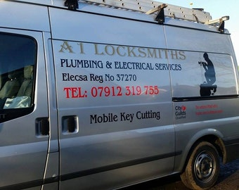 Vehicle signage / Van graphics / Sign Writing / Cut Vinyl Lettering Decals