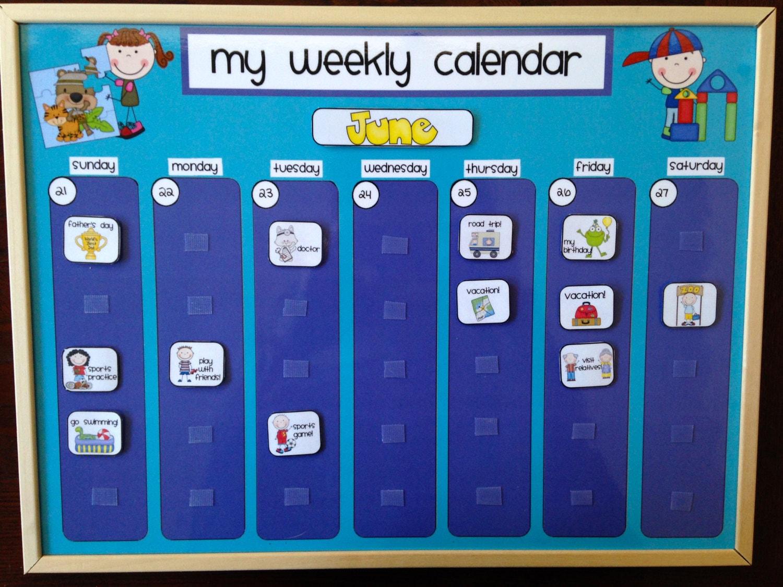 Children S Calendar Wall Chart : Weekly kids calendar schedule activity chore chart